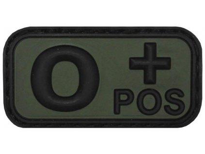 Označení krevní skupiny 0+ positive 3D PVC oliv MFH