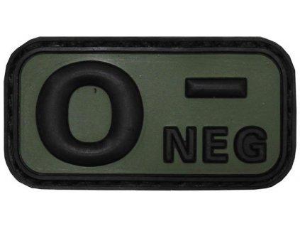 Označení krevní skupiny 0- negative 3D PVC oliv MFH