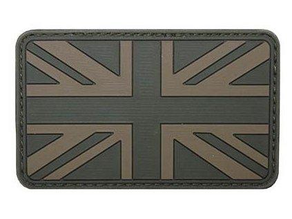 Nášivka vlajka Velká Británie Velcro 3D PVC 8 x 5cm oliv 36507D