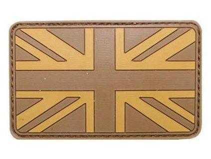 Nášivka vlajka Velká Británie Velcro 3D PVC 8x5cm coyote
