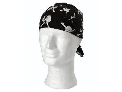 Šátek pirát černý s lebkami