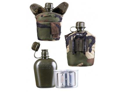 Polní láhev (čutora) US s hrnkem (pitítko) woodland