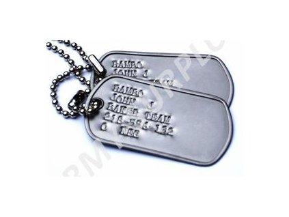 Identifikační známky US dog tags stříbrné - ražba ID známek