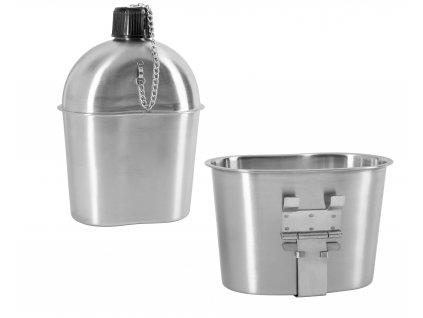 Polní láhev (čutora) US hliník s hrnkem repro 18625100
