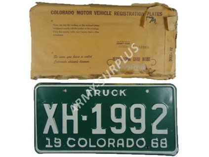 Poznávací značka na nákladní auto (License Plates) USA 1968