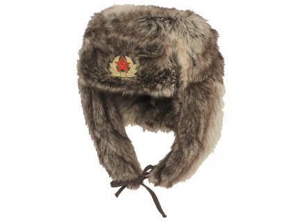 Beranice ušanka ruská s odznakem imitace kožešiny