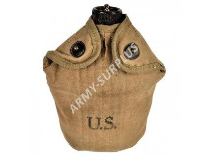 Polní láhev US WWII (čutora) hliník s obalem a pitítkem originál
