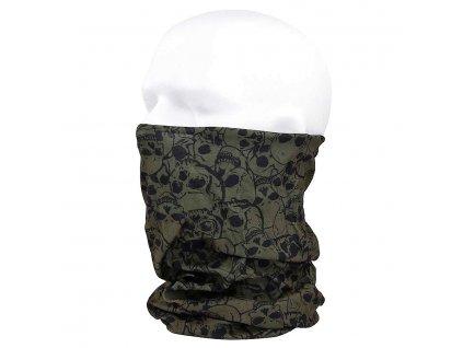 Nákrčník (multifunkční šátek) Coolmax lebky 101.INC zelený oliv 12 v 1