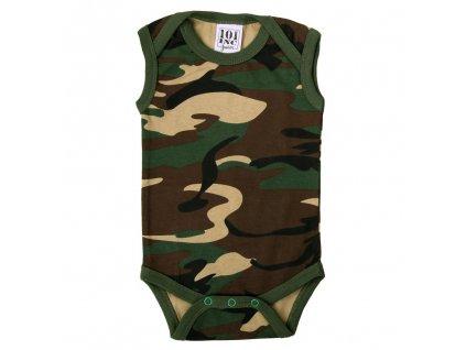 Dětské body (obleček) woodland maskáč bez rukávu 101.INC