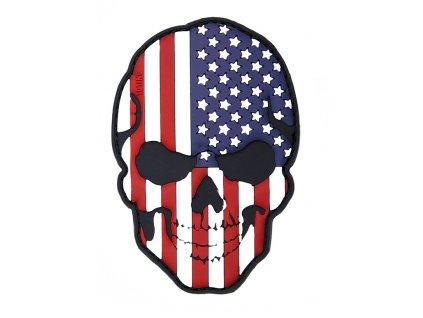Nášivka lebka skull vlajka USA 3D PVC suchý zip