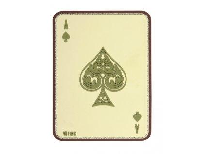 Nášivka pikové eso  Ace of Spades Death Card 3D PVC suchý zip