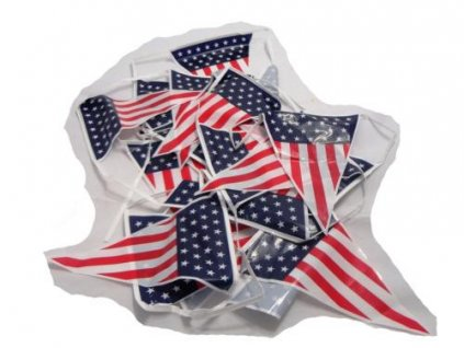 Vlajkový pás z vlajek USA (ribbon) délka cca 8m