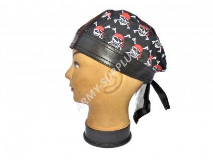 Šátek pirát kožený lebky červené vzor 11