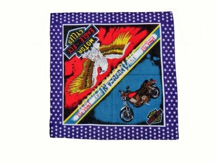 Šátek potisk čtvercový Eagle-Fly modrý