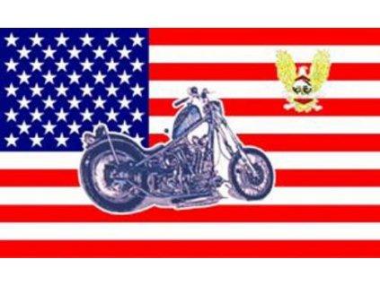Vlajka USA s motorkou (chopper) 90x150cm č.77