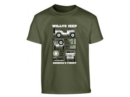 Triko (tričko) dětské Jeep Willys oliv Velká Británie Kombat 185g