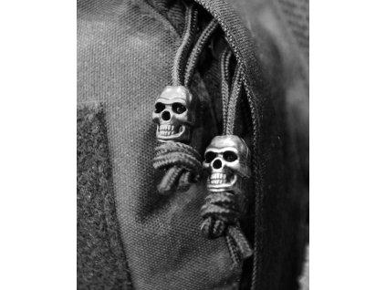 Lebka (Skull,náramek) černá na paracord sada 10 kusů Velká Británie Kombat
