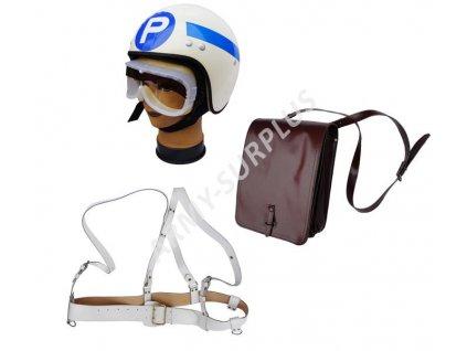 Souprava regulovčíka - kompletní sada (helma,brýle,kožená taška,opasek) ČSLA