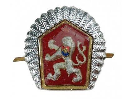 Odznak LEV ČSLA na čepici stříbřité lemování (okruží)