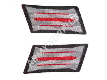 Nášivka NVA zrcadýlka (collar tabs) artilerie červené