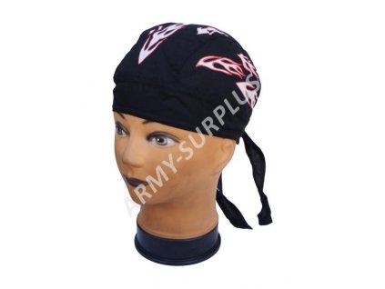 Šátek pirát na hlavu plameny černý