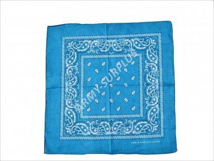 Šátek potisk western čtvercový světle modrý