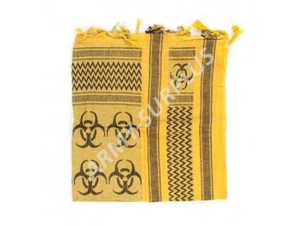 Šátek palestina (shemagh, arafat) biohazard žlutá/černá MMB
