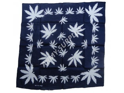 Šátek potisk konopí modrý čtvercový