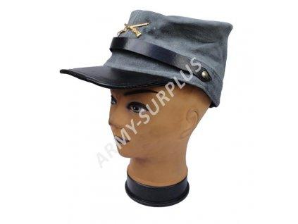 Čepice konfederace šedá broušená kůže