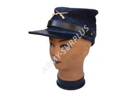 Čepice konfederace modrá broušená kůže