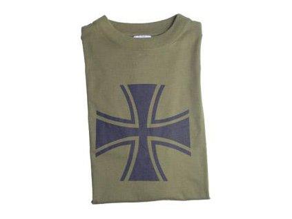 Tričko (triko) oliv potisk kříž černý Panzer Německo