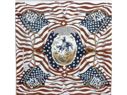 Šátek potisk USA western rodeo čtvercový kůň
