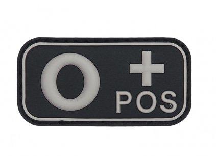 Označení krevní skupiny 0+ positive 3D PVC černá
