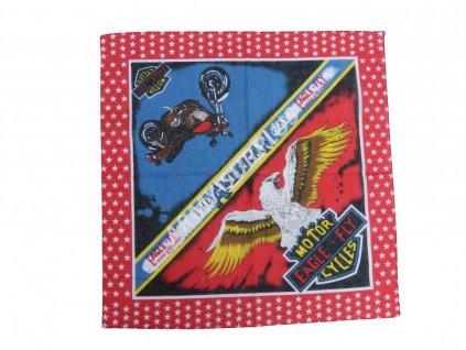 Šátek potisk čtvercový Eagle-Fly červený