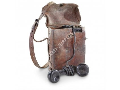 Polní telefon EE-8-B-GY  Signal Corps US Army kožený obal originál WWII