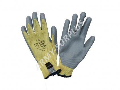 Kevlarové rukavice žluté pogumované