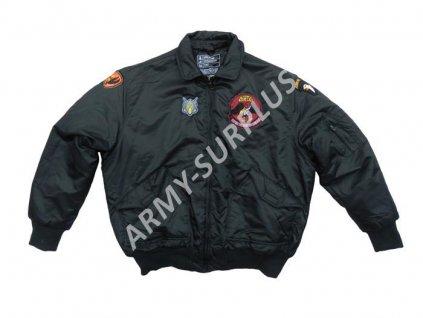 Bunda US pilot CWU černá s nášivkama