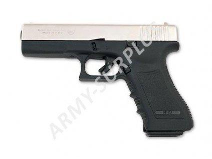 Plynová (expanzní) pistole GAP 17 Bruni (replika Glock) 9mm PAK stříbrná NIKL