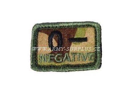 Označení krevní skupiny 0- NEGATIVE - multicam