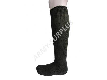 Ponožky podkolenky termo zimní teplé vlněné oliv