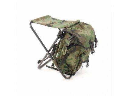 Židle rybářská s batohem woodland