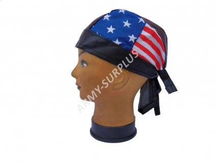 Šátek pirát kožený vlajka USA vzor 5