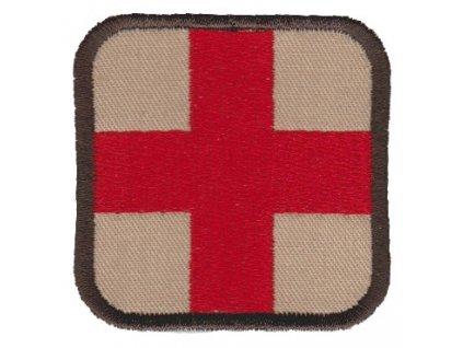 Nášivka Medic červený kříž vyšívaná červená / desert