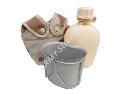 Polní láhev MNS AČR (čutora) souprava (čutora, obal,pitítko) SPM vz.95 s béžovým potiskem (desert, pouštní)