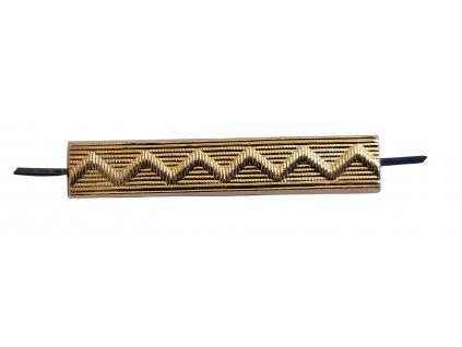 Odznak kolejnička litá rovná velká zlatavá 5,5 x 1 cm