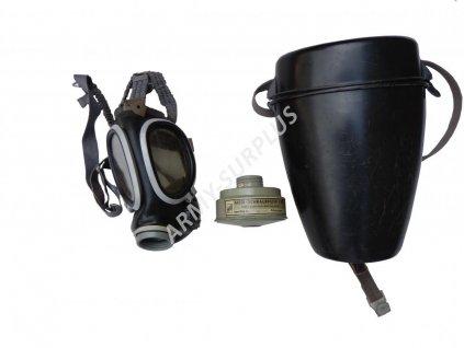 Plynová maska DDR typ ASM MLW s filtrem a obalem