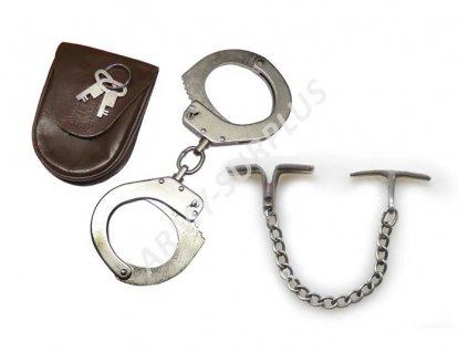 Pouta řetízkové, svěrací RALK se dvěma klíčky a koženou sumkou (pouzdrem) a předváděcími řetízky