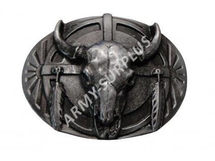 Přezka na opasek Western lebka bizona - starozinek B1321