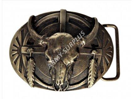 Přezka na opasek Western lebka bizona - mosaz B1321M