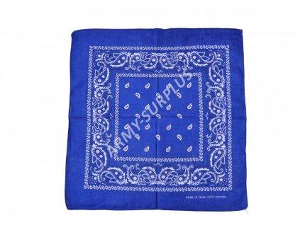 Šátek potisk western čtvercový tmavě modrý